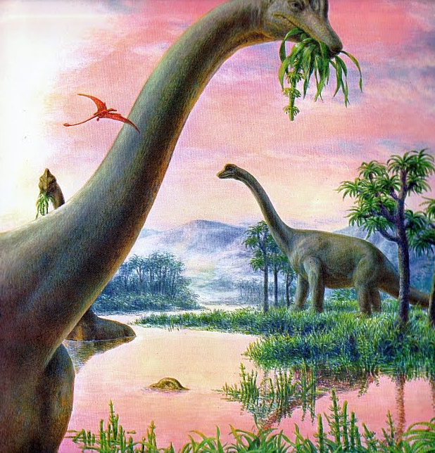Dinosaurs moss fog for Age of reptiles mural