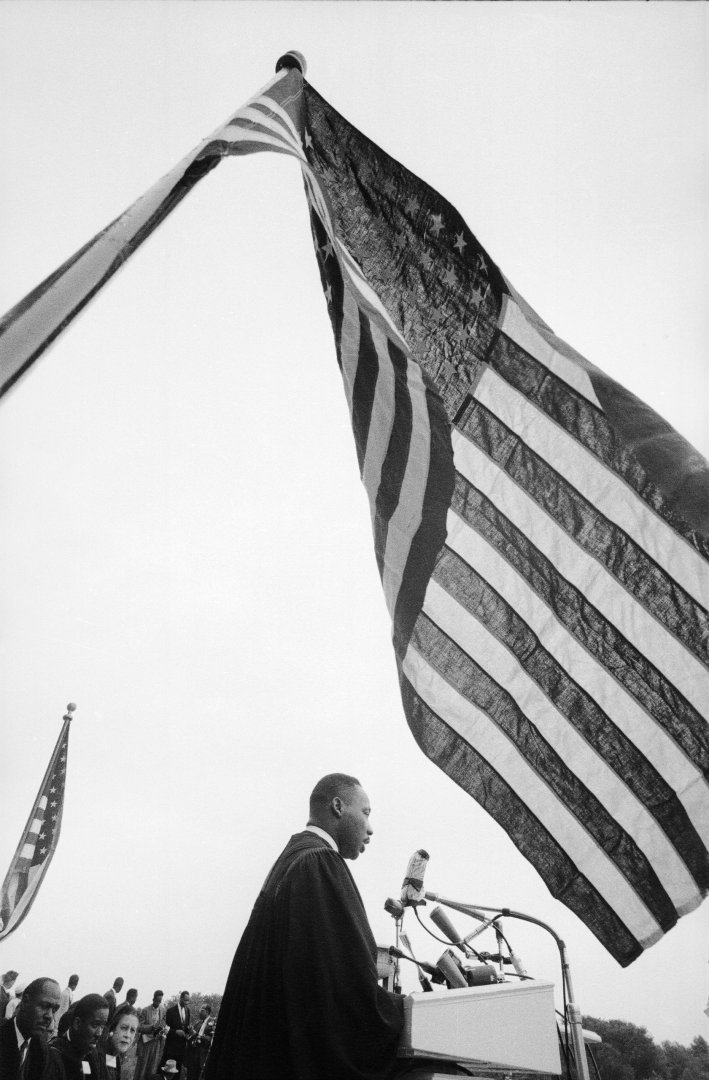 Rev. Martin Luther King Jr. speaking at 'Prayer Pilgrimage for Freedom' at Lincoln Memorial.