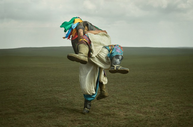 Traditional wrestlers on the grasslands of rural Mongolia